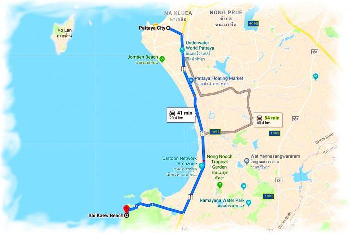 The route from Pattaya to the Military beach (Sai Kaew beach) on the map