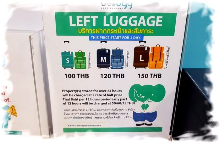 Baggage storage fares at Bangkok Airport
