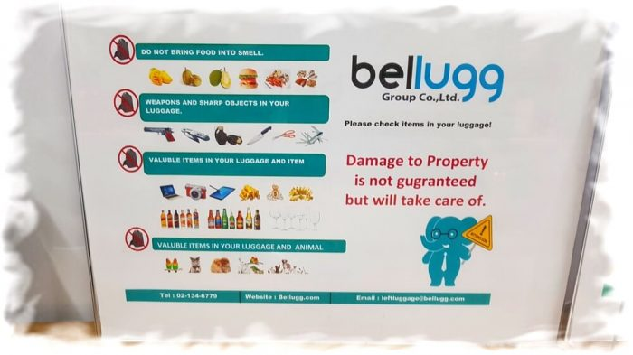 Bans and restrictions for left luggage to the baggage room