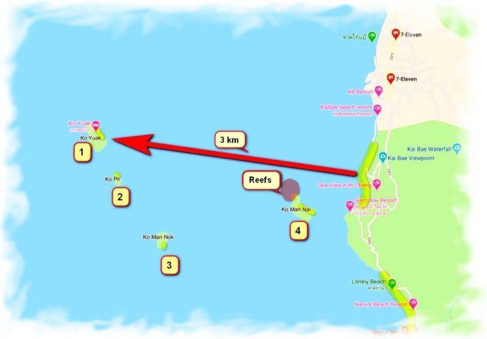 Kayaking on Koh Chang - sea trip map